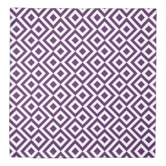 Reversible Purple & White Meander Diamond Zigzags Duvet Cover