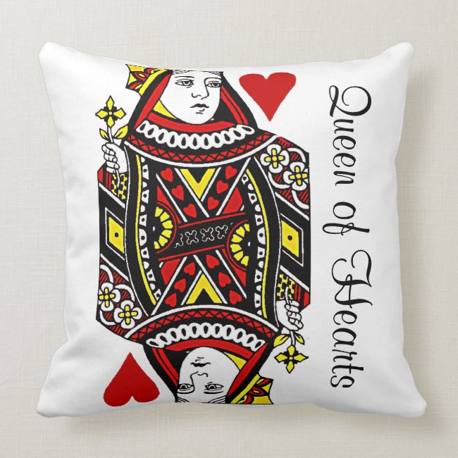 Reversible Queen of Hearts Design Throw Pillow