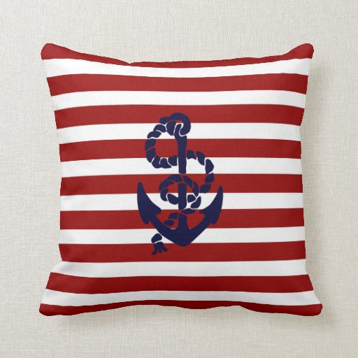 Reversible Red Blue Nautical Anchor Throw Pillow Zazzle