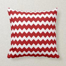 Reversible Red Green Chevron Pattern Pillow
