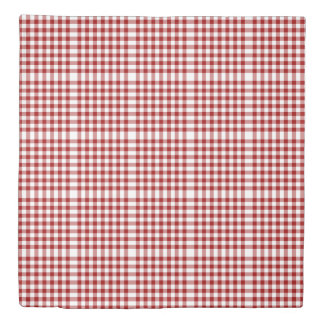 Reversible Red/Navy Gingham Patterns Duvet Cover