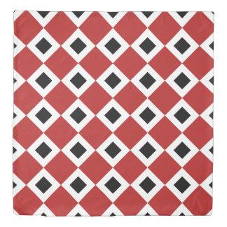 Reversible Red, White, Black Diamond Patterns Duvet Cover
