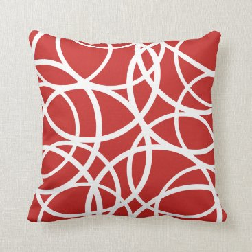 Professional Business Reversible Red/White Circle Pattern Pillow