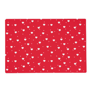 Reversible  Red & White Valentines Hearts Placemat