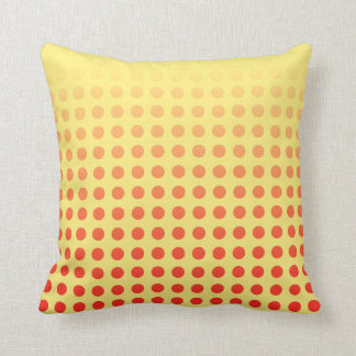 Reversible Red Yellow Polka Dot Fade Throw Pillow