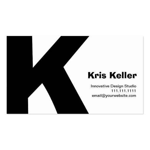 Reversible retro grande del K-Monograma del diseño Tarjetas De Visita