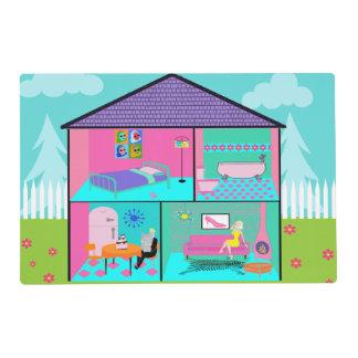 Reversible Retro Living Dollhouse Placemat