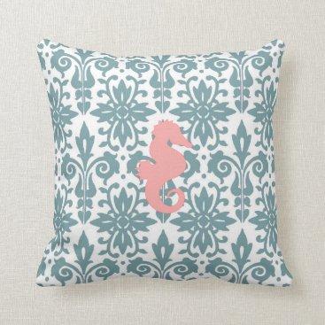 Beach Themed Reversible Seahorse Design Throw Pillow