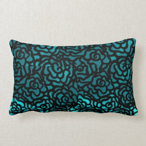 reversible teal and purple throw pillow