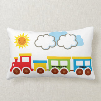 Reversible train pillow to personalize