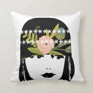 Reversible Vintage Roaring 20's Flapper Girl Throw Pillow