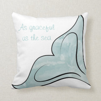 Reversible Watercolor Whale Tail Throw Pillow