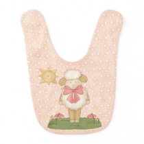 Reversible - Whimsical Lamb and Yellow Chick Baby Bib