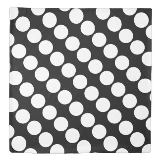 Reversible White Dots on Black/Red Duvet Cover