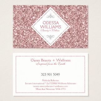 Reversible White & Modern Rose-Gold Glitter Business Card