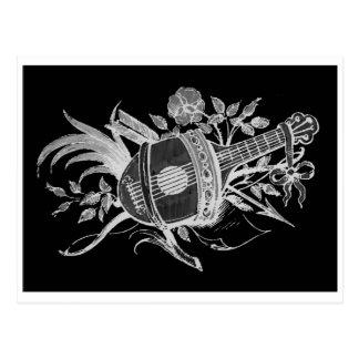 Revés blanco y negro de un laúd y de flores postales