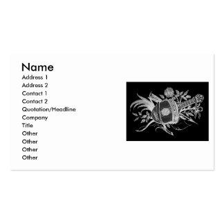 Revés blanco y negro de un laúd y de flores tarjetas de visita
