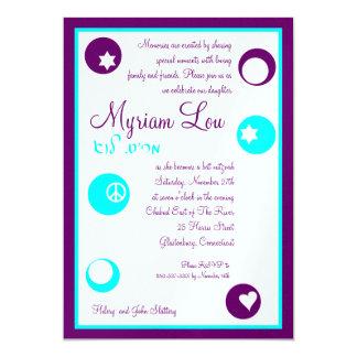"""Revés de encargo de Mitzvah del palo de Myriam Lou Invitación 5"""" X 7"""""""
