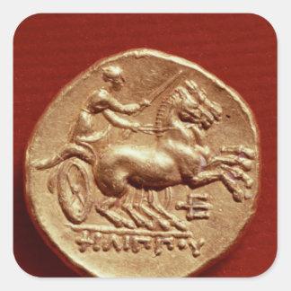 Revés de un stater de Philip II de Macedonia Pegatina Cuadrada