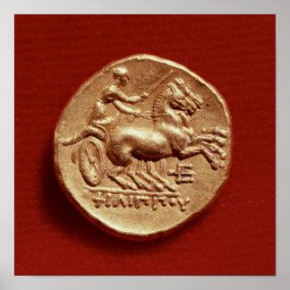 Revés de un stater de Philip II de Macedonia Póster