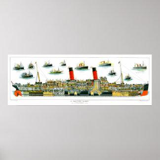 Revestimiento marino británico de la litografía de impresiones