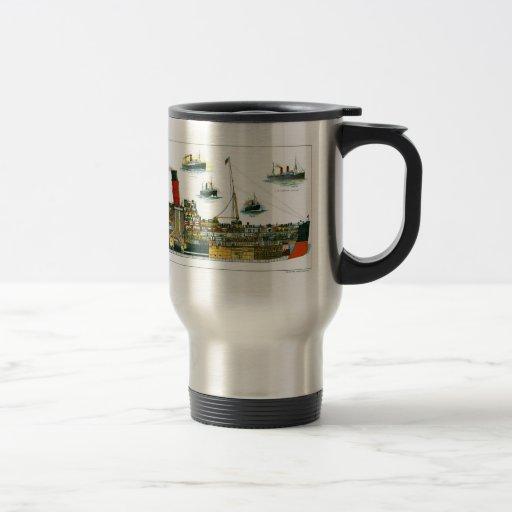 Revestimiento marino británico de la litografía de taza de café