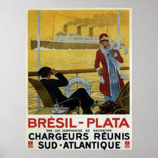 Revestimiento marino del vintage al anuncio del Br Posters