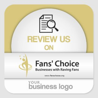 Review Us on Fans' Choice Square Sticker