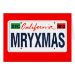 Revised California License Plate Merry Xmas 2013 Greeting Card