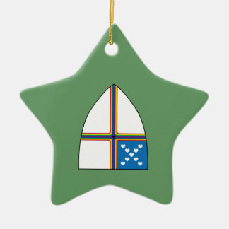 revised shield Double-Sided star ceramic christmas ornament