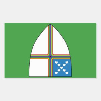 revised shield rectangular sticker