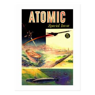 Revista atómica nuclear retra de los años 60 de postal