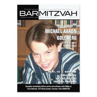 Revista blanco y negro de Mitzvah de la barra del Invitación 12,7 X 17,8 Cm