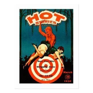 Revista caliente de las historias del vintage de l postales