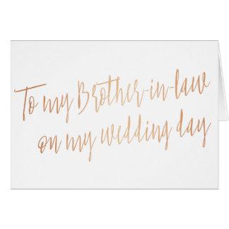 """Revista con cobre """"a mi cuñado en mi día de boda """" tarjeta de felicitación"""