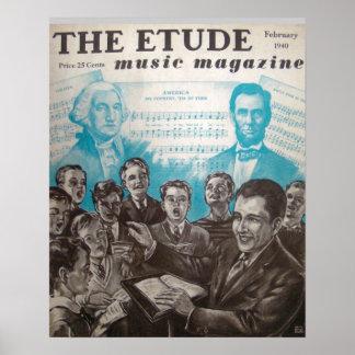 Revista de la música el Etude febrero de 1940 Posters