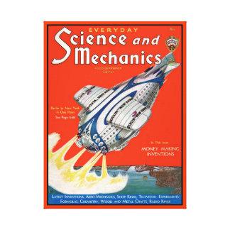 Revista retra de la cubierta de la ciencia ficción impresiones en lona estiradas