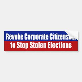 Revoke Corporate Citizenship Bumper Sticker Car Bumper Sticker