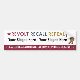 Revolt Recall Repeal - Custom Bumper Sticker Car Bumper Sticker