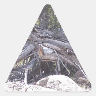 Revoltijo de la madera del envejecimiento pegatina triangular