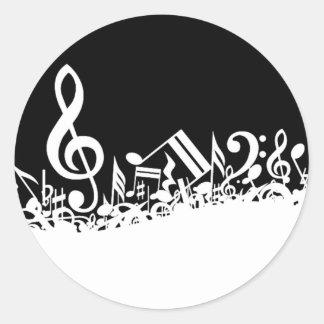 Revoltijo de símbolos musicales pegatina redonda