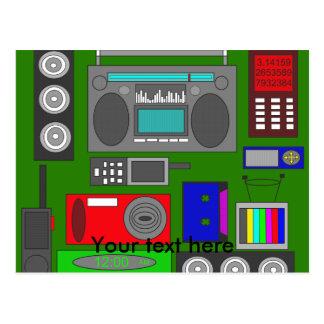 Revoltijo retro fresco de la electrónica en verde tarjetas postales