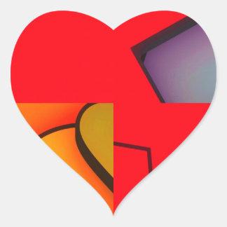 Revoltijo rojo enrrollado pegatina en forma de corazón