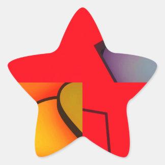 Revoltijo rojo enrrollado pegatina en forma de estrella