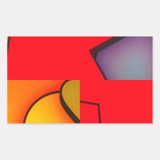 Revoltijo rojo enrrollado pegatina rectangular