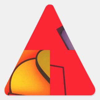 Revoltijo rojo enrrollado pegatina triangular