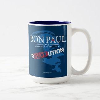 Revolución 2012 de Ron Paul Taza De Dos Tonos