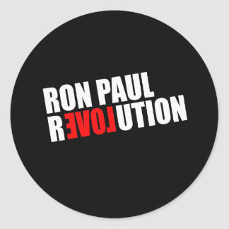 REVOLUCIÓN de RON PAUL (blanca) Etiquetas Redondas