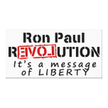 Revolución de Ron Paul es un mensaje de la liberta Impresion En Lona