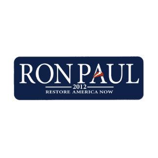 Revolución de Ron Paul Etiquetas De Remite